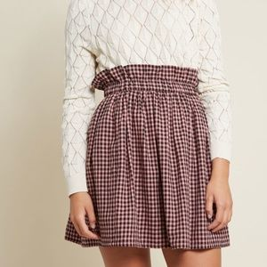 NWT Modcloth Pink & Black Paper Sack Gingham Skirt